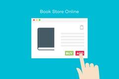 Онлайн книжный магазин Иллюстрация плоского вектора схематическая Стоковые Изображения RF