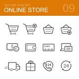 Онлайн комплект значка плана вектора магазина Стоковые Изображения RF