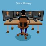 Онлайн концепция встречи, бизнес-конференция, иллюстрация вектора Стоковые Изображения