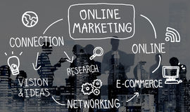 Онлайн концепция зрения стратегии сети цифров маркетинга Стоковая Фотография