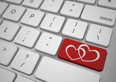 Онлайн концепция дня валентинок кнопки влюбленности Иллюстрация штока