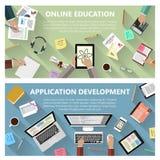 Онлайн концепция образования и развития app иллюстрация вектора
