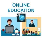 Онлайн концепция образования с конференцией интернета и спутник в космосе Стоковые Фотографии RF