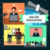 Онлайн концепция образования с конференцией интернета и спутник в космосе резюмируйте вектор экрана цветов кнопки предпосылки гол Стоковые Изображения