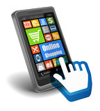 Онлайн концепция покупок на Smartphone Стоковые Фото