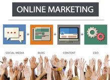 Онлайн концепция цели стратегии содержания дела маркетинга стоковая фотография rf