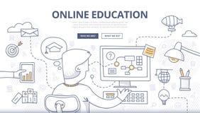 Онлайн концепция Doodle образования Стоковые Изображения