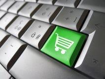 Онлайн ключ компьютера значка покупок Стоковые Изображения
