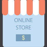 Онлайн магазин Приобретение кнопки экрана Стоковое Изображение