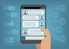 Онлайн маркетинг через социальные средства массовой информации и Instant Messenger как концепция для монетизации с умным телефоно иллюстрация вектора