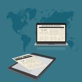 Онлайн, новости, плоская иллюстрация вектора иллюстрация штока