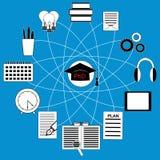 Онлайн образование и концепция обучения по Интернетуу - значок установленный для рогульки, плаката, вебсайта также вектор иллюстр Стоковые Изображения
