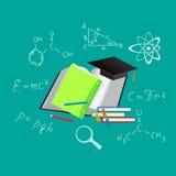 Онлайн образование, плоская иллюстрация вектора, apps, знамя, эскиз, нарисованная рука иллюстрация штока