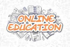 Онлайн образование - слово апельсина Doodle владение домашнего ключа принципиальной схемы дела золотистое достигая небо к иллюстрация вектора