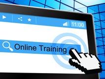 Онлайн обучение показывает Всемирный Веб и коллеж иллюстрация вектора