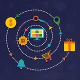 Онлайн покупки, элементы Infographic Стоковые Фотографии RF