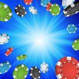 Онлайн предпосылка победителя казино Иллюстрация обломоков покера взрыва Иллюстрация концепции призовых денег наличных денег выиг иллюстрация вектора