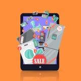 Онлайн приборы продажи супермаркета в чемодане Стоковые Изображения