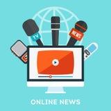 Онлайн принципиальная схема новостей Стоковое Изображение