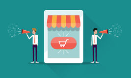 Онлайн продвижение и маркетинг магазина объявляют концепцию Стоковое Фото