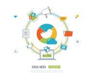Онлайн сообщение и социальная концепция средств массовой информации Управление инвестициями Защита данных иллюстрация штока