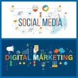Онлайн сообщение, социальная концепция средств массовой информации, цифровых и передвижных маркетинга иллюстрация штока