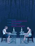 Онлайн социальное датировка анти- выбирает вверх линии иллюстрацию Стоковое Изображение