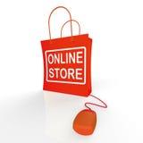 Онлайн сумка магазина показывает покупки и приобретение от магазинов интернета иллюстрация вектора