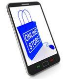 Онлайн сумка магазина представляет коммерцию и продавать интернета иллюстрация вектора
