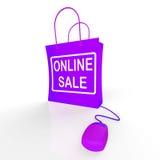 Онлайн сумка продажи представляет продажи и скидки интернета бесплатная иллюстрация