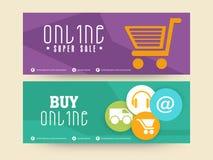 Онлайн супер заголовок продажи или комплект знамени иллюстрация штока