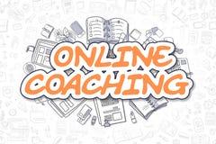 Онлайн тренировать - текст апельсина Doodle владение домашнего ключа принципиальной схемы дела золотистое достигая небо к иллюстрация штока