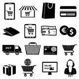 Онлайн установленные значки покупок иллюстрация вектора