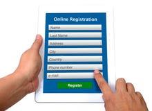 Онлайн форма registeration. Стоковое фото RF