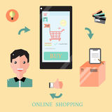 Онлайн ходя по магазинам концепция Infographic Стоковое фото RF