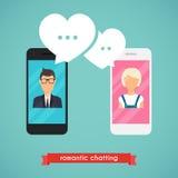 Онлайн человек и женщина болтовни онлайн концепция графика датировка Пара иллюстрация штока