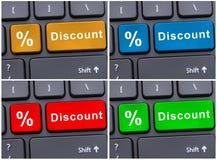 Онлайн электронная коммерция с кнопкой скидки стоковая фотография rf