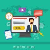 Онлайн webinar, обучение по Интернетуу, профессиональные лекции Стоковые Изображения