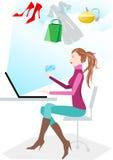 он-лайн женщины покупкы Стоковая Фотография RF