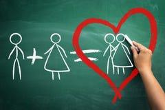Он плюс она приравнивает влюбленность Стоковые Фотографии RF
