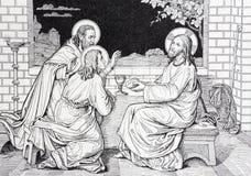 Он ужин Иисуса с 2 учениками в литографировании Emmaus стоковая фотография