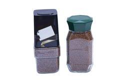 2 опарника растворимого кофе изолированного на белизне Стоковое Изображение