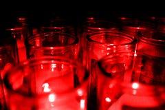 Опарникы стеклянного зарева Candelight Candel красного Стоковая Фотография