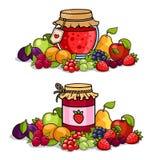 Опарник варенья окруженный плодоовощами и ягодами иллюстрация штока