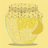 Опарник вектора стеклянный варенья лимона Стоковые Изображения RF