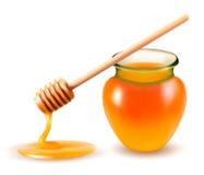 Опарник меда и dipstick. иллюстрация вектора