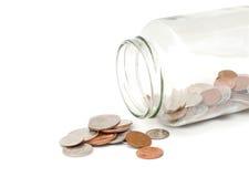 опарник монетки открытый стоковые изображения rf
