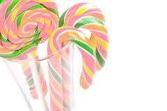 Опарник тросточек конфеты на белой предпосылке Стоковая Фотография RF