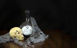 Опарник Apothecary brew ведьм с черепом Стоковое Изображение RF