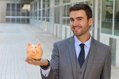 Опасливый человек с его финансирует правильно обеспеченный Стоковая Фотография RF